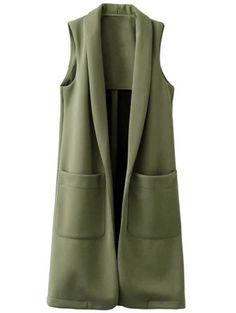 Pockets Turn-Down Collar Long Waistcoat - Daily Fashion Daily Fashion, Trendy Fashion, Spring Outfit Women, Hijab Fashion, Fashion Dresses, Pijamas Women, Clothing Packaging, Wool Vest, Long Vests