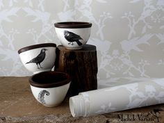Black Bird Small Round Bowls by Laura Zindel