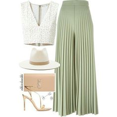 Top: Alice+Olivia Pants: Givenchy Sandals: Gianvito Rossi Clutch: Saint Laurent Hat: Janessa Leone E Classy Outfits, Chic Outfits, Summer Outfits, Black Outfits, Mode Ootd, Look Fashion, Womens Fashion, Feminine Fashion, Green Fashion