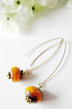 Tangerine Orange Earrings on Long Gold Wires by Redpeonycreations, $19.00