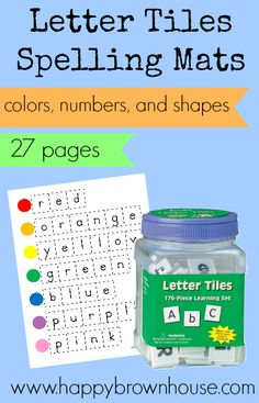 Letter Tiles Spelling Mats free printable  27 pages; color words, number words, and shapes #ece #preschool #kindergarten