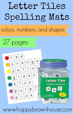 Letter Tiles Spelling Mats free printable  27 pages; color words, number words, and shapes #ece #preschool #kindergarten