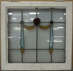 """OLD ENGLISH LEADED STAINED GLASS WINDOW Pretty Swag Design 22.5/"""" x 21.5/"""""""