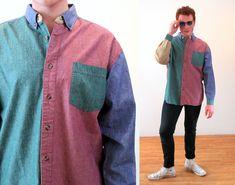 Vintage Beige Button Up Shirt Size Large Flannel Button Up Brown Button down Denim khaki XL Hipster Tan