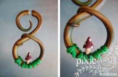 MADE-TO-ORDER Handmade mushroom fake gauge earring for un-stretched ears