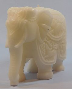 Elephant Embellished Candle-White Color Scented Pillar Candles, White Candles, Elephant, Color, Colour, Elephants, Colors