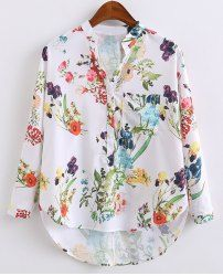 Shop Multicolor V Neck Dip Hem Floral Print Blouse online. SheIn offers Multicolor V Neck Dip Hem Floral Print Blouse & more to fit your fashionable needs. Cute Blouses, Blouses For Women, Shirt Blouses, Floral Blouse, Printed Blouse, Floral Tops, Blouse Styles, Blouse Designs, Latest Street Fashion