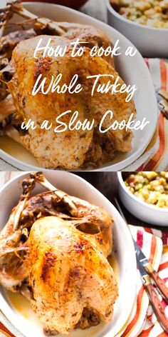 I show you how easy it is to make a whole turkey in your Crockpot or slow cooker! It's easy! And you free up your oven for sides and desserts for Thanksgiving! desserts for thanksgiving Crockpot Whole Turkey Turkey Crockpot Recipes, Whole Turkey Recipes, Oven Chicken Recipes, Slow Cooker Recipes, Thanksgiving Recipes Crockpot, Slow Cooker Whole Turkey, Turkey In Crock Pot, Turkey Cooker, Deserts