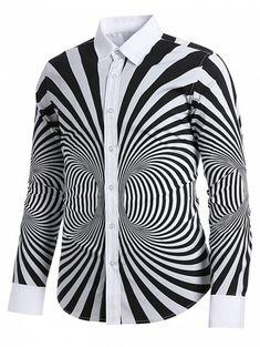 0e64724a323 3D Zibra Swirl Pattern Back Letter Striped Casual Shirt - multicolor L  Formal Shirts For Men