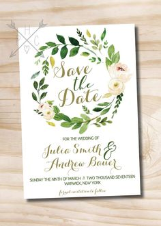 Watercolor Floral Wreath Wedding Save the Date, Foliage, Floral, Romantic, Olive Green and Soft Pink, Coordinating Invitation and RSVP by PaperHeartCompany on Etsy