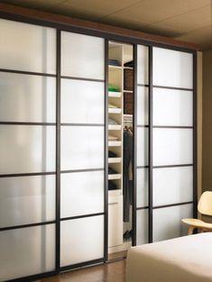 Modern closet door diy ideas for 2019 Bedroom Closet Doors Sliding, Modern Closet Doors, Closet Curtains, Modern Sliding Doors, Sliding Glass Door, Glass Doors, Bathroom Closet, Sliding Panels, Ikea Sliding Door