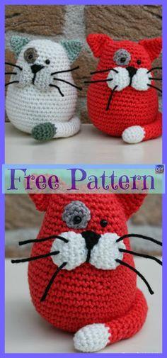 10 Crochet Cats Home Decor Free Patterns - Amigurumi Chat Crochet, Crochet Mignon, Crochet Mug Cozy, Crochet Amigurumi, Crochet Motifs, Amigurumi Patterns, Crochet Dolls, Crochet Yarn, Free Crochet