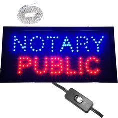 """Bright Animated Notary Public Office LED Open Store Sign 19x10"""" Display neon #AhhaProducts"""