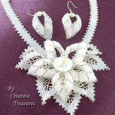 Hey, I found this really awesome Etsy listing at https://www.etsy.com/listing/117333584/white-beaded-floral-necklace-and