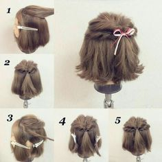 Easy hair arrangement feature for wedding ☆ Self-inspired style for self-made Kawaii Hairstyles, Diy Hairstyles, Pretty Hairstyles, Curly Hair Styles, Short Hair Updo, Medium Hair Styles, Hair Arrange, Toddler Hair, Dream Hair