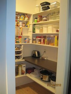 walk in pantry with an outlet and countertop. I can leave small appliances readily available so they are not suffocating my countertops!