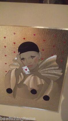 Vintage Estate 1980s Foil Print Picture Card Playing Female Pierrot Clown | eBay