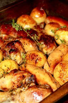 Chicken, Sausage & Potato Tray Bake With Marmalade & Thyme