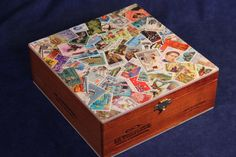 Wooden Keepsake Box Decoupaged with Worldwide Postage Stamps Postage Stamp Quilt, Postage Stamps, Wooden Keepsake Box, Keepsake Boxes, Wooden Cigar Boxes, Old Stamps, Decoupage, Altered Boxes, Diy Craft Projects