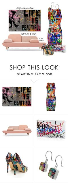 """SET #2149. Style Inspiration: Street-Chic Graffiti"" by annasousa-1 ❤ liked on Polyvore featuring Trademark Fine Art, Moschino, Roger Vivier, women's clothing, women, female, woman, misses and juniors"