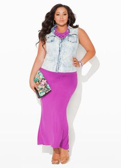 Ashley Stewart Acid Wash Sleeveless Denim Shirt and Long Rayon Span Skirt.