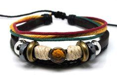 A241 Handmade Suffer BROWN Leather Bracelets Tibetan Jewelry Women/men`s |