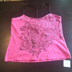 VS Graffiti Yoga Top VS graffiti Lycra yoga tops with a built in bra. Raser back spaghetti straps! NWT (A) Victoria's Secret Tops Camisoles
