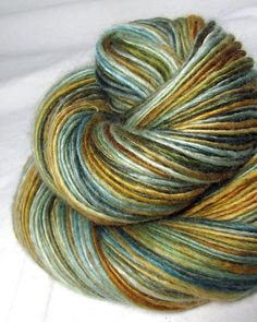Handspun Yarn Gently Thick and Thin Worsted Single Blue Faced Leicester Lynn Vogel's 'Olive Blossom Blue' Limited Edition