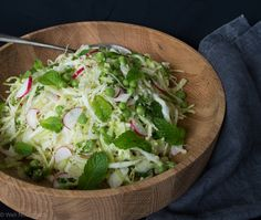This Cabbage, Pea and Mint Salad is vegetarian, grain, gluten-free & low-fructose with a variation for vegan & dairy-free. It's lovely fresh flavours are divine.