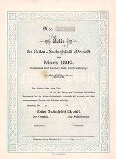 Actien-Zuckerfabrik Aderstedt / Actie 1.500 Mark ca. 1880 (Blankette der Gründeraktie, R 11).