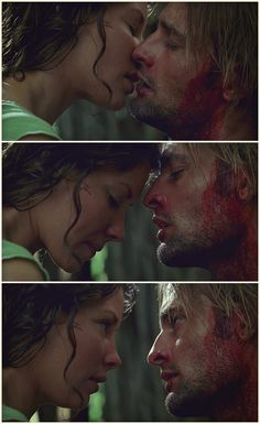 """Lost, Josh Holloway, Evangeline Lilly. Sawyer and Kate """"You taste like strawberries."""""""