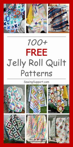 Quilt Patterns: Free Jelly Roll Quilt patterns and tutorials - over 100 designs and ideas to sew from strips. Many simple and easy enough for beginners. Instructions for how to sew a quilt from jelly roll strips. Jelly Roll Quilt Patterns, Quilt Patterns Free, Free Pattern, Strip Quilts, Easy Quilts, Quilting For Beginners, Sewing Projects For Beginners, Machine Quilting Designs, Quilting Ideas