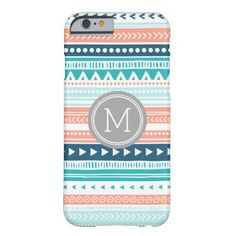 Vintage Tribal Stripes Pattern Coral Blue Monogram Barely There iPhone 6 Case