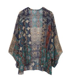 Such a pretty pattern! And I love the idea of a kimono jacket as a layering piece. Renee C Jennifer Graphic Print Kimono Cardigan - Stitch Fix $48