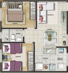 Home Decoration With Paper Craft 2 Bedroom House Plans, Modern House Plans, Small House Plans, One Bedroom, House Floor Plans, Home Design Plans, Home Interior Design, Apartment Floor Plans, Apartment Layout