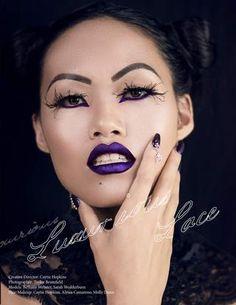 Diverse World Fashion Magazine's Fall '15 issue  Beauty Editorial Shoot #makeupinspo #mua #avantgarde #maribou #featherlashes #purplelips #vampy #lacechocker