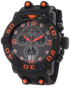 Invicta Men's 12259 Sea Hunter Chronograph Carbon Fiber Dial Black Polyurethane Watch