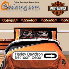 Harley Davidson Bedding & Wall Decorations Harley Davidson Bedding, Harley Davidson Bikes, Harley Ultra Classic, Biker Quotes, Bed Wall, Beds Online, Home Deco, Wall Decorations, New Homes