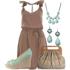 light brown dress with light blue shoes and accessories.  Very cute and cool for summer.