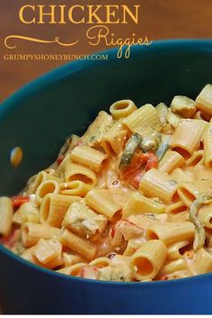 Creamy Chicken Riggies, a tomato and cream based sauce with a mix of sweet and hot peppers.