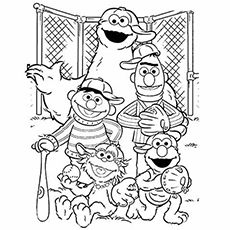 Elmo And Friends Playing Baseball Coloring Pages