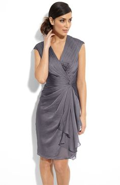 #motherofthebride, Nordstrom, Adrianna Papell Faux Wrap Chiffon Dress, color: smoke, $138