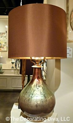 Table Lamp Glamour: Stunning glass base & gilded shade convey timeless elegance. Spotted at John-Richard #HPMKT 2013