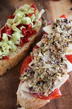 """Today's Sandwich: """"The Antipasto"""" (Homemade) ~ It combines Genoa salami, spicy pepperoni, sliced provolone, pepperoncini peppers, sun dried tomatoes, an artichoke and olive tapenade, and anchovy mayonnaise on thick slices of Italian bread."""