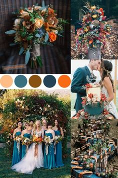 colorful fall inspired teal and rust orange wedding color ideas wedding ideas 20 Dark Teal and Rust Orange Wedding Color Ideas for Fall Orange Wedding Colors, Fall Wedding Colors, Wedding Color Schemes, Blue Wedding, Wedding Flowers, Dream Wedding, Teal Orange Weddings, Teal Rustic Wedding, November Wedding Colors