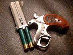 double shot derringer style with shotgun by Bond Arms Weapons Guns, Guns And Ammo, Rifles, 410 Shotgun, Fire Powers, Firearms, Shotguns, Revolvers, Derringer Pistol
