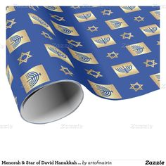 Happy Hanukkah. Star of David and Menorah Design Hanukkah Gift Wrapping Paper. Matching cards, postage stamps and other products available in the Jewish Holidays / Hanukkah Category of the artofmairin store at zazzle.com