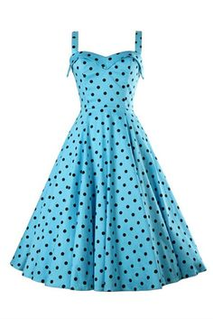 '50s Style Vintage Blue Dot Printed Dress #10-30 #1950s #app-women #day #fit-and-flare #meta-filter-color-blue #meta-filter-size-l #meta-filter-size-m #meta-filter-size-s #meta-filter-size-xs #new #party-special-occasion #prints-floral