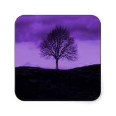 One Lone Tree Silhouette Purple Nature Landscape Stickers #stickers