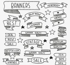 20 models promotional hand-painted banners ribbons vector